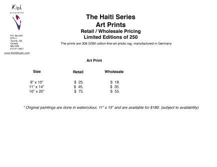 Pricing 2019 The Haiti Series